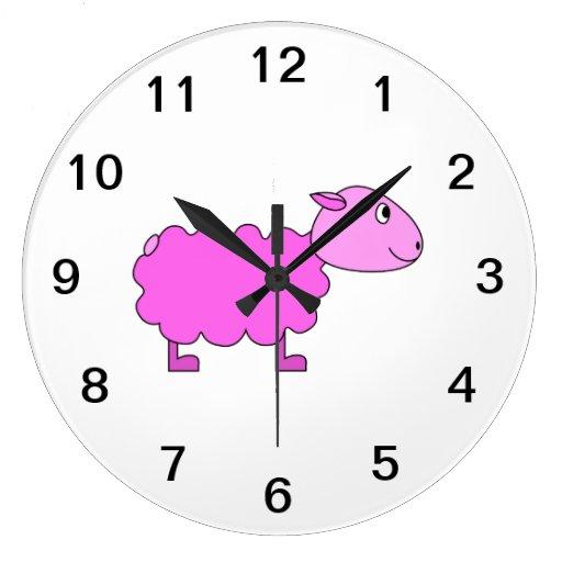 Ovejas rosadas reloj de pared