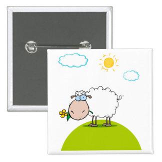 ovejas tontas en una colina con una flor pin cuadrado