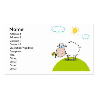 ovejas tontas en una colina con una flor plantilla de tarjeta personal