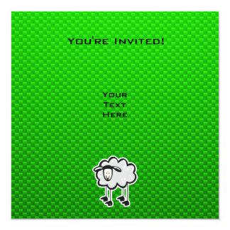 """Ovejas verdes invitación 5.25"""" x 5.25"""""""