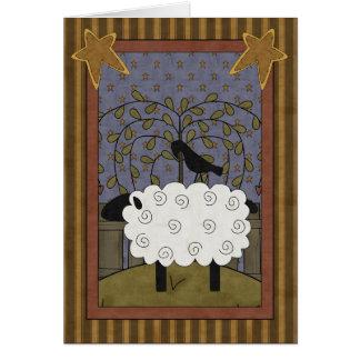 Ovejas y cuervo dulces del aniversario tarjeta de felicitación