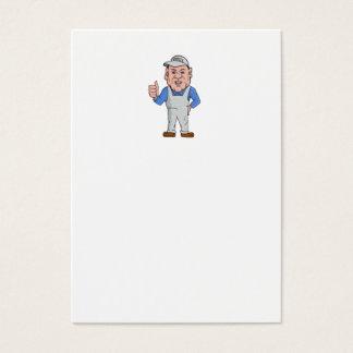 Oven Cleaner Technician Thumbs Up Cartoon Business Card