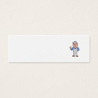 Oven Cleaner Technician Thumbs Up Cartoon Mini Business Card