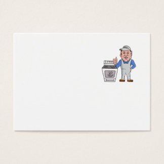 Oven Cleaner With Oven Thumbs Up Cartoon Business Card