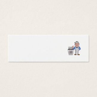Oven Cleaner With Oven Thumbs Up Cartoon Mini Business Card