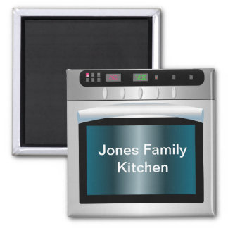 Oven graphic with personalized text 2 inch square magnet