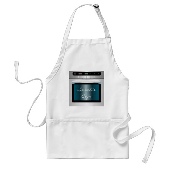 Oven graphic with personalized text adult apron