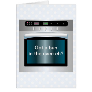 Oven graphic with personalized text card