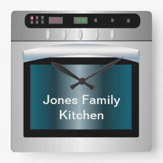 Oven graphic with personalized text square wallclocks