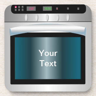 Oven graphic with personalized text drink coaster