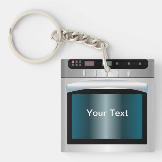 Oven graphic with personalized text Single-Sided square acrylic keychain