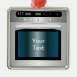 Oven graphic with personalized text square metal christmas ornament