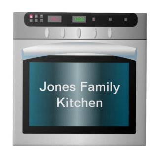 Oven graphic with personalized text tile
