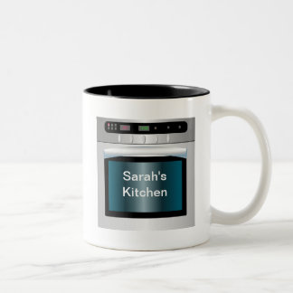 Oven graphic with personalized text Two-Tone coffee mug