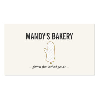 Oven Mitt Logo Gold on Beige for Bakery Business Card