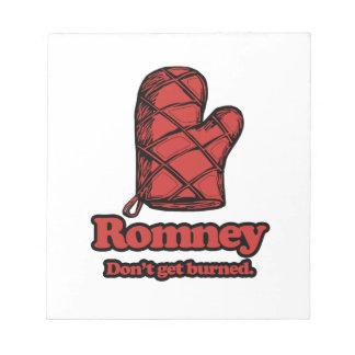 Oven Mitt Romney - Get Burned.png Memo Pads
