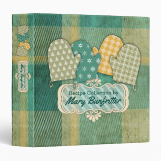 Oven mitts green plaid Christmas recipe cookbook 3 Ring Binder
