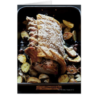 Oven Roaste zpork Loin with crackling, potatoes Card