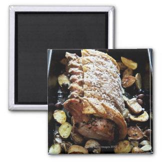 Oven Roaste zpork Loin with crackling, potatoes Magnet