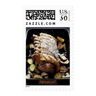 Oven Roaste zpork Loin with crackling, potatoes Postage