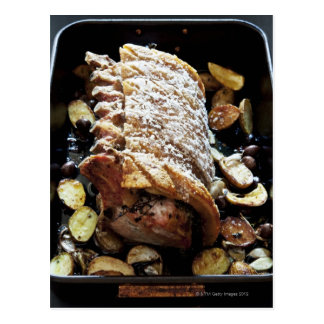 Oven Roaste zpork Loin with crackling, potatoes Postcard