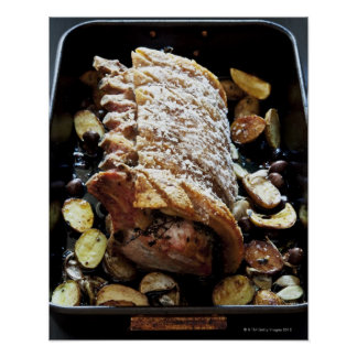 Oven Roaste zpork Loin with crackling, potatoes Poster