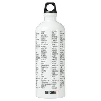 Over 600 Positive Words! Aluminum Water Bottle