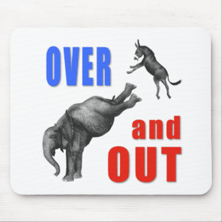 OVER AND OUT Political Illustration Mouse Pad