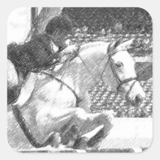 Over Easy - hunter jumper equestrian Square Sticker