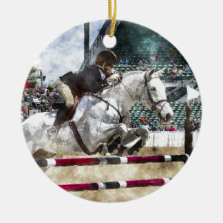Over Easy Hunter Jumper Show Jumping Ceramic Ornament