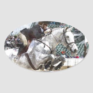 Over Easy Hunter Jumper Show Jumping Oval Sticker