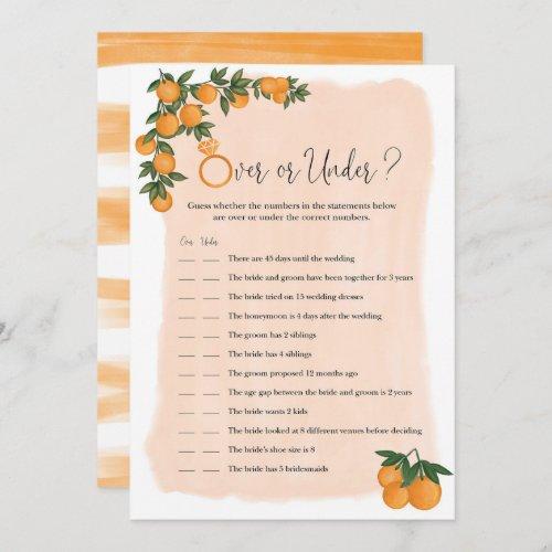 Over or Under Orange Citrus Bridal Shower Game