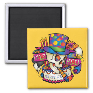 Over the Hill 2 Inch Square Magnet