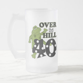Over The Hill 40th Birthday Frosted Glass Beer Mug