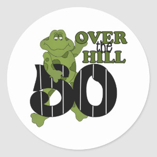 Over The Hill 50th Birthday Classic Round Sticker