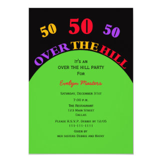 "Over the Hill 50th Birthday Party Invitation 5"" X 7"" Invitation Card"