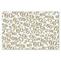 Over The Hill 60th Birthday Gold/White Pattern Tissue Paper