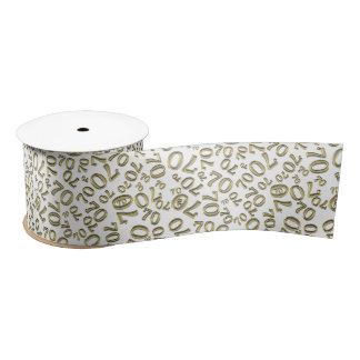 Over The Hill 70th Birthday Gold White Collage Satin Ribbon