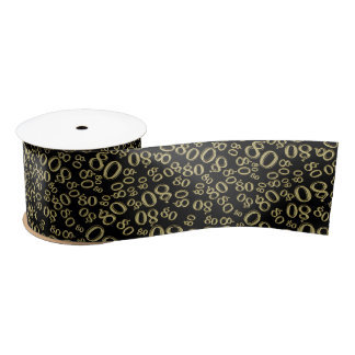 Over The Hill 80th Birthday Gold Black Collage Satin Ribbon