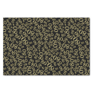 Over The Hill 80th Birthday Gold Black Collage Tissue Paper