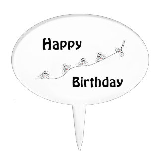 Over The Hill Bicyclist Birthday Cake Topper