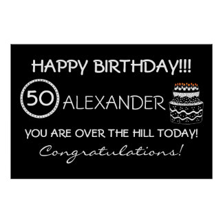 Over The Hill Birthday Banner Posters