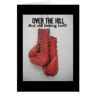 Over the Hill Birthday Card Boxing Gloves