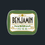 "Over the Hill Birthday Party Favor Jelly Belly Tin<br><div class=""desc"">Green Version - A humorous take on the famous tin that everyone will recognize. A gag gift or memento. If you need to personalize it more,  click on the customize this button to make changes.</div>"