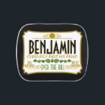 "Over the Hill Birthday Party Mints Jelly Belly Candy Tin<br><div class=""desc"">Black Version - A humorous take on the famous tin that everyone will recognize. A gag gift or favor. If you need to personalize it more,  click on the customize this button to make changes.</div>"