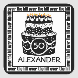 Over The Hill Birthday Square Sticker