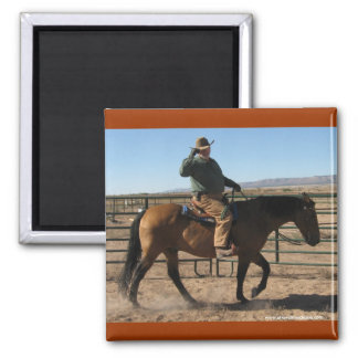 Over the Hill Cowboy and Horse - Western Humor Fridge Magnet