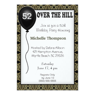 "Over the Hill Customizable Age Birthday Invitation 5"" X 7"" Invitation Card"
