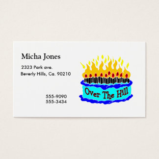 Over The Hill Flaming Birthday Cake Business Card