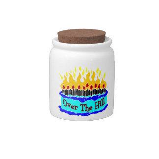Over The Hill Flaming Birthday Cake Candy Jar